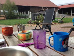 Frühstücken im Hof