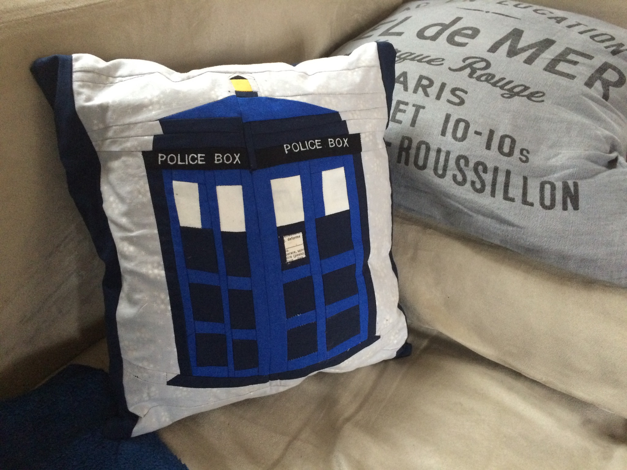 Tardis paper piecing pillow